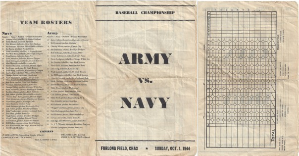 Score card from Game 4 of the 1944 Army vs Navy Championship Series played at Hickam Army Army Air Force Base at Furlong Field.