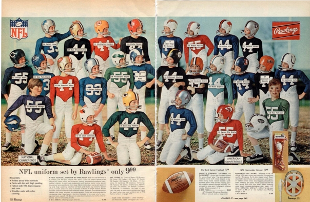 My original Los Angeles Rams football uniform kit was very similar to these, dating back to 1971.