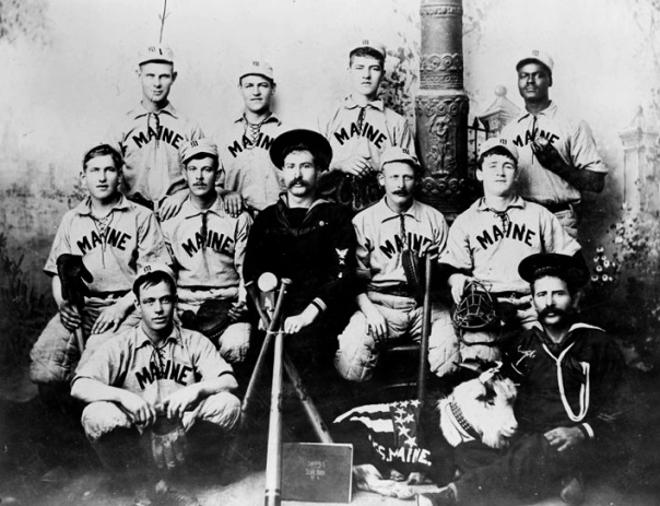 The USS Maine's baseball team from 1898 was photographed just days before the ship was destroyed by an overpowering explosion that left 266 of her 375 men, and invariably many of these ballplayers, dead.