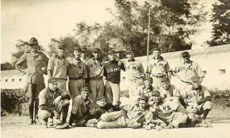 Marines of the Legation baseball team in 1916 at Peking, China (source: ChinaMarine.org).