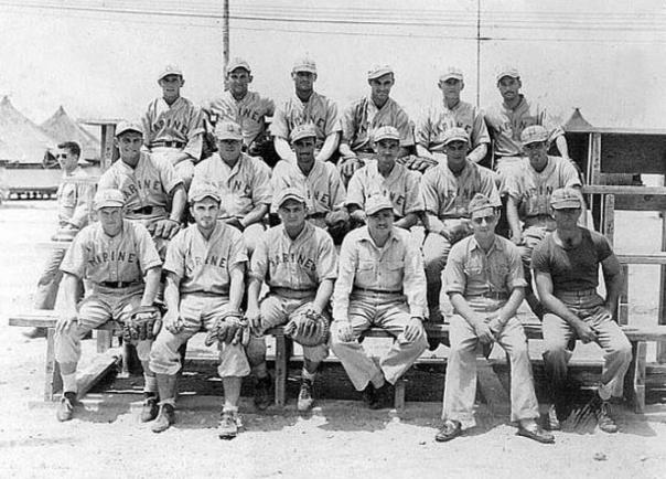 "This photo taken in 1945 on Kwajalein Island shows ""Nevil's devils"" who were runners-up in the Island championship. The team was coached by. LTCOL Nevils (photographer – Thorpe, Clell – source: VMB613.com)."