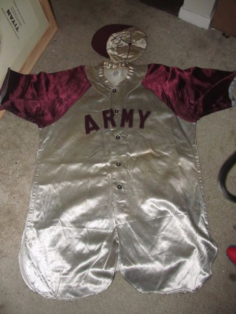 Camp Hunter Liggett - 1940s Satin Jersey and ball cap made by Spalding.