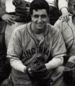 The Cincinnati uniform in question. Is this from the MLB Reds team or, perhaps the University of Cincinnati Bearcats? Note the uniform features (lettering, lettering arch, piping trim placement and size).