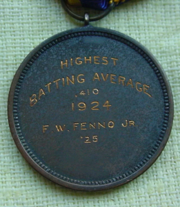 This medal was awarded to Frank W. Fenno, Jr. (class of 1925) for carrying the Naval Academy team's highest batting average (.410) for the 1924 season.