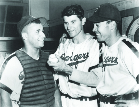 Dodgers in satin; left to right: Roy Campanella, Preacher Roe and Duke Snider (source: The Design Morgue).