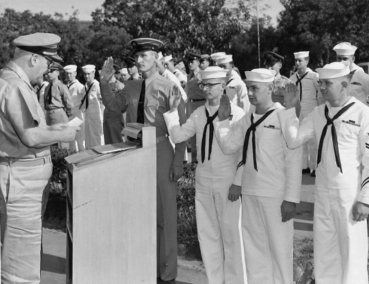 Admiral Frank Fenno re-enlists three sailors, circa 1955-56 at the US Taiwan Defense Command (source: http://ustdc.blogspot.com/)