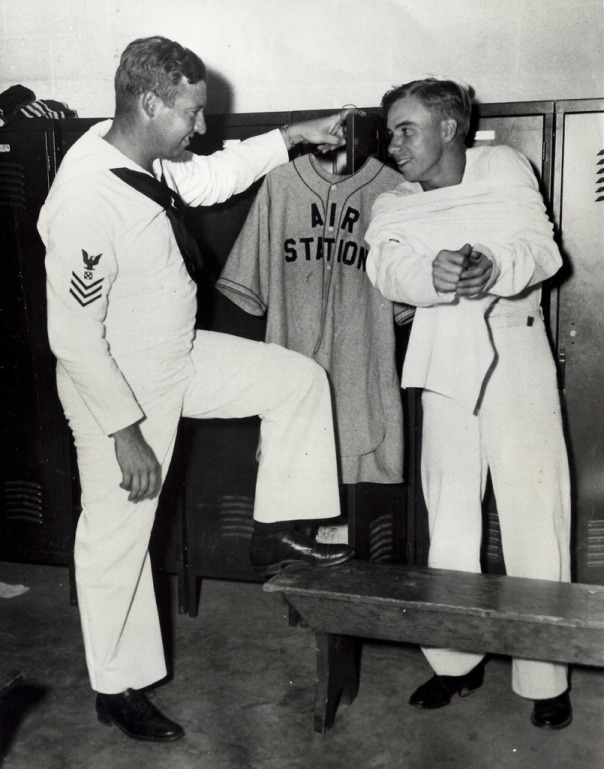 September 18, 1943 - Hugh Casey (left), former Brooklyn pitcher, and Pee Wee Reese, former Brooklyn shortstop, wear different uniforms now but are still playing top notch ball. They are the nucleus for a service team at the Naval Air Station, Norfolk, VA (author's collection).