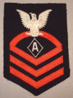 "This dress blue Specialist ""A"" rating badge was used for the Navy's Athletic Instructor specialist rating from 1942-1944 then as the Physical Training Instructor from 1944-1948."
