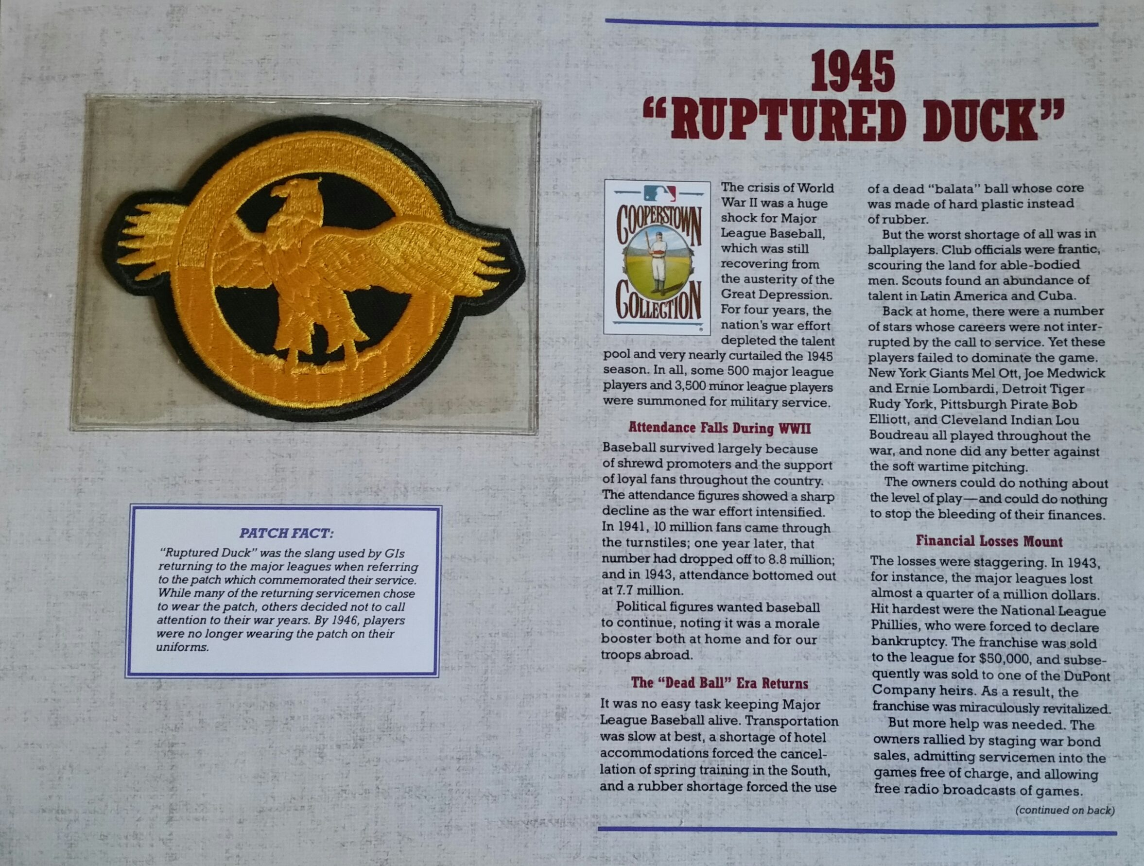 WWII Veterans Honored on the Diamond: Ruptured Duck Patches