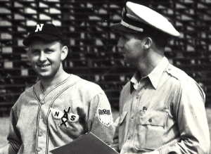 This close-up of the NAS Jacksonville team photograph shows the shield patch with the obscured, smaller inset shield over the top of the vertical stripes.