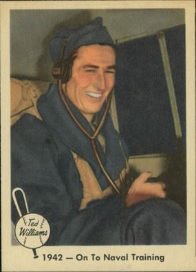 """1959 Fleer Ted Williams #20 - One of my favorites of the set, """"1942-On To Naval (Training)"""" shows Ted seated in a Piper Cub that was snapped during a December 1, 1942 publicity photoshoot at Amherst College with Johnny Pesky."""