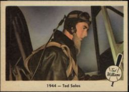 """1959 Fleer Ted Williams #22 - """"1944-Ted Solos"""" captures William's first time soloing in an aircraft while in training at his flight school in Amherst, MA."""