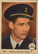 """1959 Fleer Ted Williams #23 - Following a lengthy training cycle, Ted received his Naval Aviator's wings of gold as documented in """"1944-Williams Wins (His Wings)."""""""